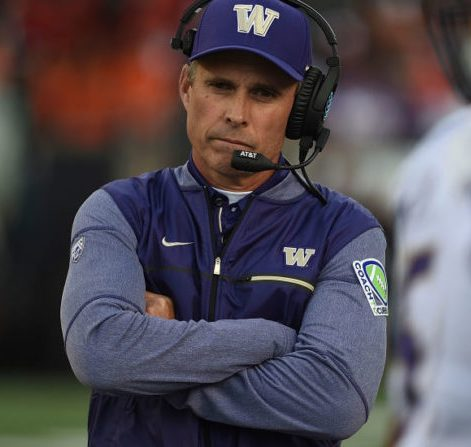 CORVALLIS, OR - SEPTEMBER 30: Head coach Chris Petersen # of the Washington Huskies looks on from the sidelines during the third quarter of the game against the Oregon State Beavers at Reser Stadium on September 30, 2017 in Corvallis, Oregon. The Huskies won the game 42-7. (Photo by Steve Dykes/Getty Images)